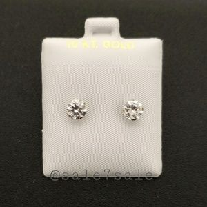 10K Gold Solid Real 10KT 6mm CZ Earrings
